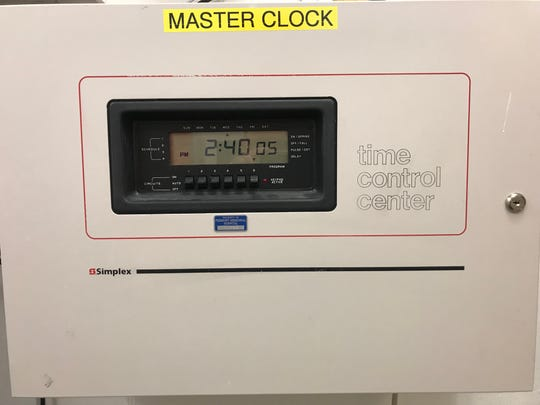 Master control of the Atomic Clocks at ProMedica Memorial Hospital.