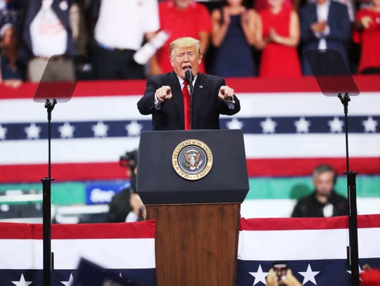 President Donald Trump spoke to a packed house during a Make America Great Again rally at Hertz Arena in Estero, Florida on Wednesday 10/31/2018. Republican gubernatorial candidate Ron DeSantis and Governor and U.S. Senator candidate Rick Scott joined him on stage.