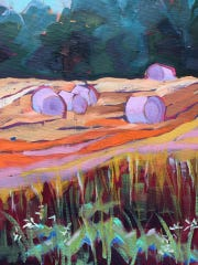 """""""Hay Bales II,"""" oil painting by Susan Reynolds-Smith, part of the 43rd Juried Annual exhibit at the Miller Art Museum."""