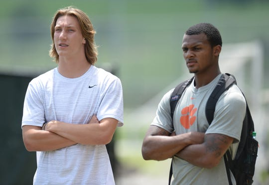 Clemson quarterback Deshaun Watson, right, talks with 2018 QB Trevor Lawrence during Dabo Swinney's football camp Tuesday, June 9, 2015.