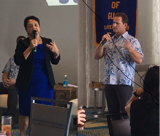 Gubernatorial candidates Lou Leon Guerrero and Ray Tenorio speak at the Rotary club of Guam on Nov. 1 2018