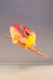 Jessica Amber Pinkett sails through the air while performing with Ailey II young dancers company. The troupe will perform at Henderson's Preston Arts Center on Saturday, Nov. 10.