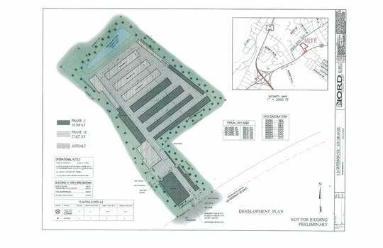 A preliminary development plan for a storage facility being proposed along U.S. 60-East across from Balmoral Acres subdivision.