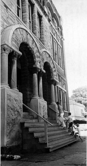 The temporary front steps of the old City Hall as they appeared after they were damaged in the  Nov. 9, 1968, earthquake. Masonry fell on the steps, damaging them, and other bricks and stone were toppled because city officials feared they would fall and hurt people. Those materials caused further damage to the steps.  Work on building the new steps began the following year, according to a Jan. 21, 1969, photo in The Gleaner.