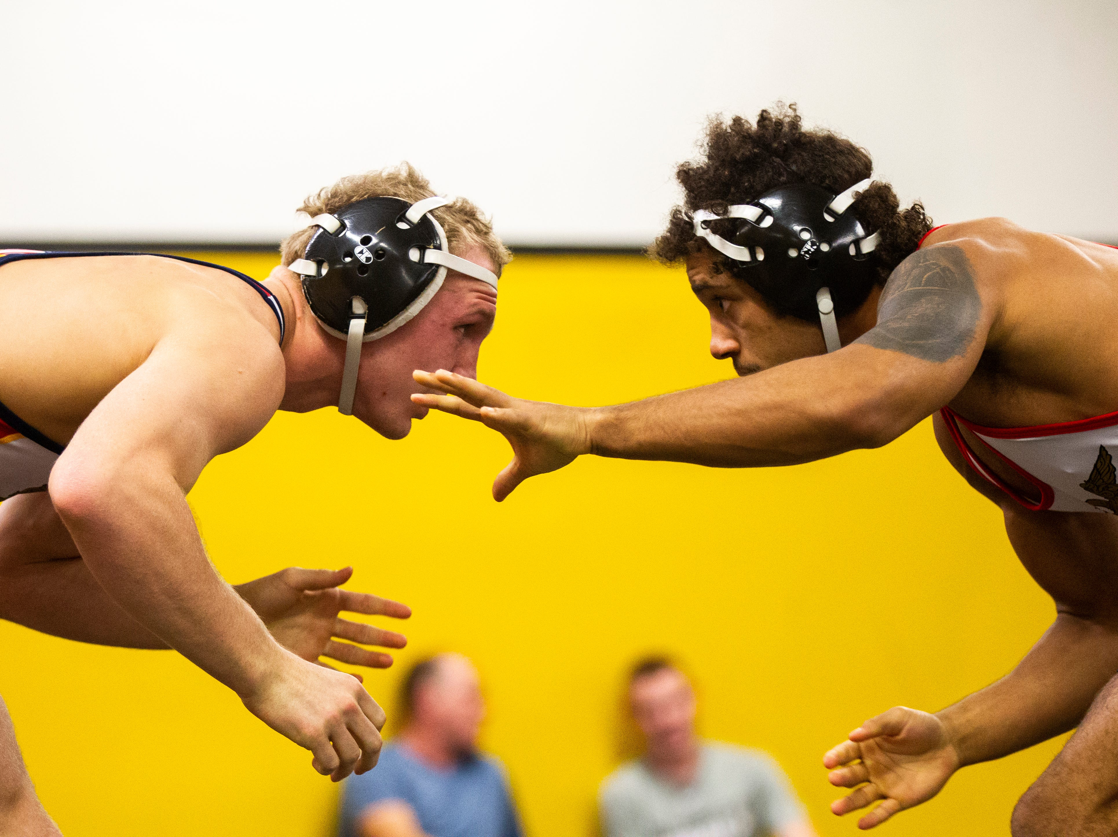Iowa's Kaleb Young (left) wrestles Jeremiah Moody at 157 during the wrestle-offs on Thursday, Nov. 1, 2018, inside the Dan Gable Wrestling Complex at Carver-Hawkeye Arena in Iowa City.
