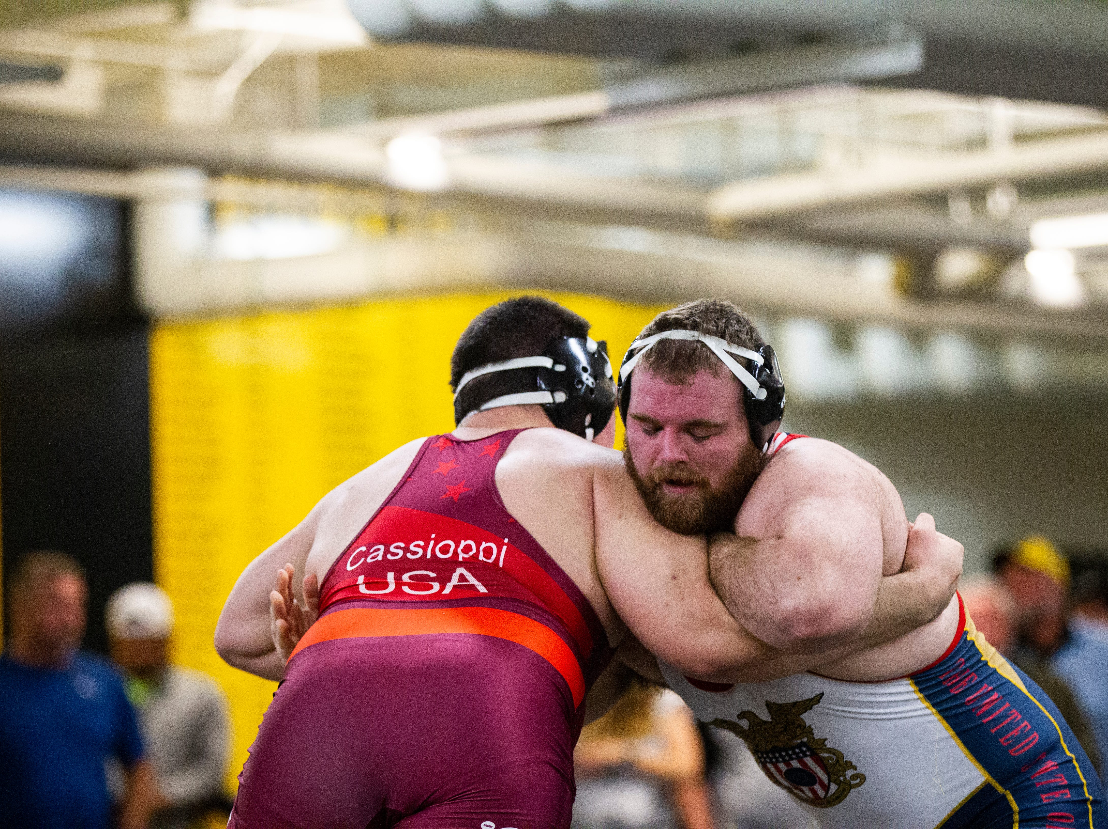 Iowa's Tony Cassioppi and Aaron Costello (right) wrestle at 285 during the wrestle-offs on Thursday, Nov. 1, 2018, inside the Dan Gable Wrestling Complex at Carver-Hawkeye Arena in Iowa City.