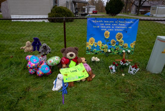 Gifts at a memorial on the site of an accident earlier in the week on State Highway 25, just north of Rochester, Thursday, Nov. 1, 2018. Prosecutors said Alyssa Shepherd, 24, struck and killed 6-year-old twins Xzavier and Mason Ingle, 6, and their sister Alivia Stahl, 9, as they were crossing the highway to board their school bus north of Rochester in Fulton County.