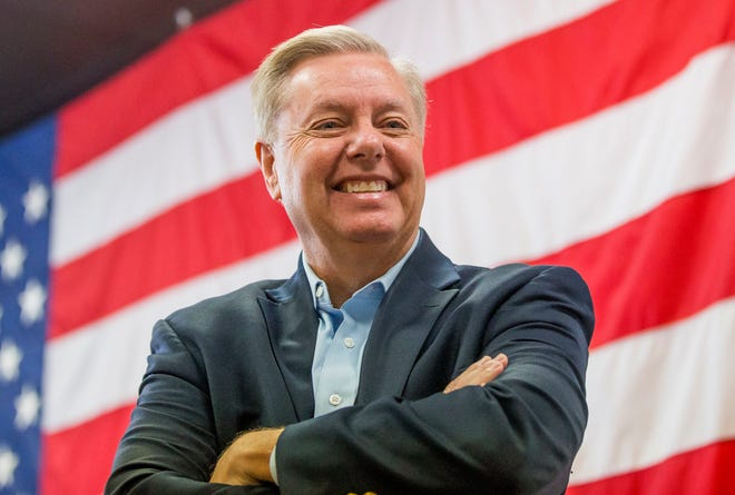 Sen. Lindsey Graham, R-S.C., speaks at a campaign rally for Republican U.S. Senate candidate Mike Braun on Thursday, Nov. 1, 2018, inside Jackie Walorski's campaign office in Mishawaka, Ind.