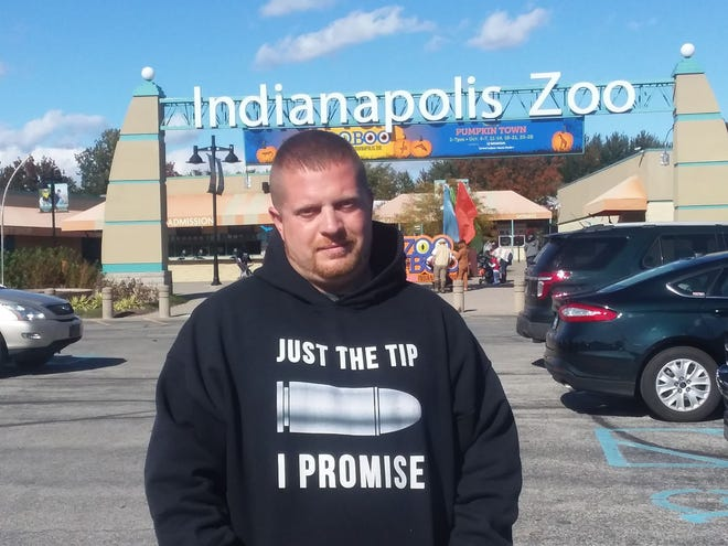 This is the photo Anthony Edmonson, Brownsburg, posted to Facebook after being asked to leave the Indianapolis Zoo because of a complaint over his sweatshirt.