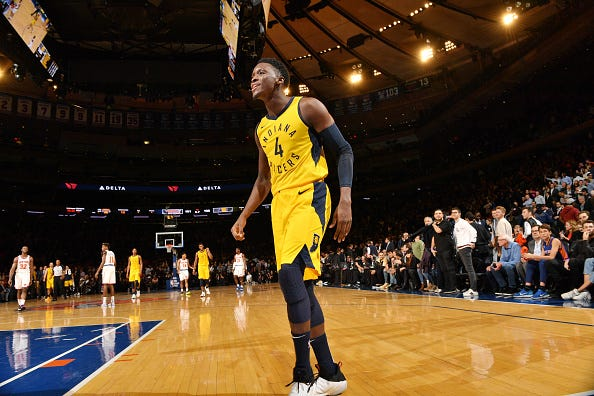 Victor Oladipo #4 of the Indiana Pacers reacts against the New York Knicks on October 31, 2018 at Madison Square Garden in New York City, New York.