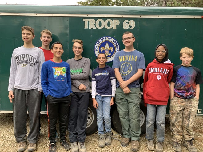 Boy Scout Troop 69 from Zionsville. Mason Doyle, 15, is second from the left, and Sam Bhatt, 15, is third from the left.