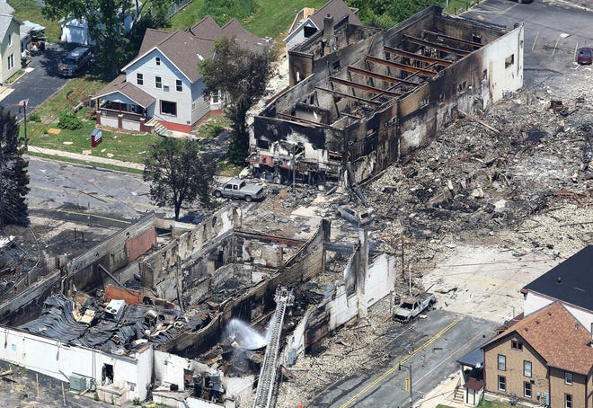 This July 11, 2018, photo shows the aftermath of a gas explosion in downtown Sun Prairie, Wis.