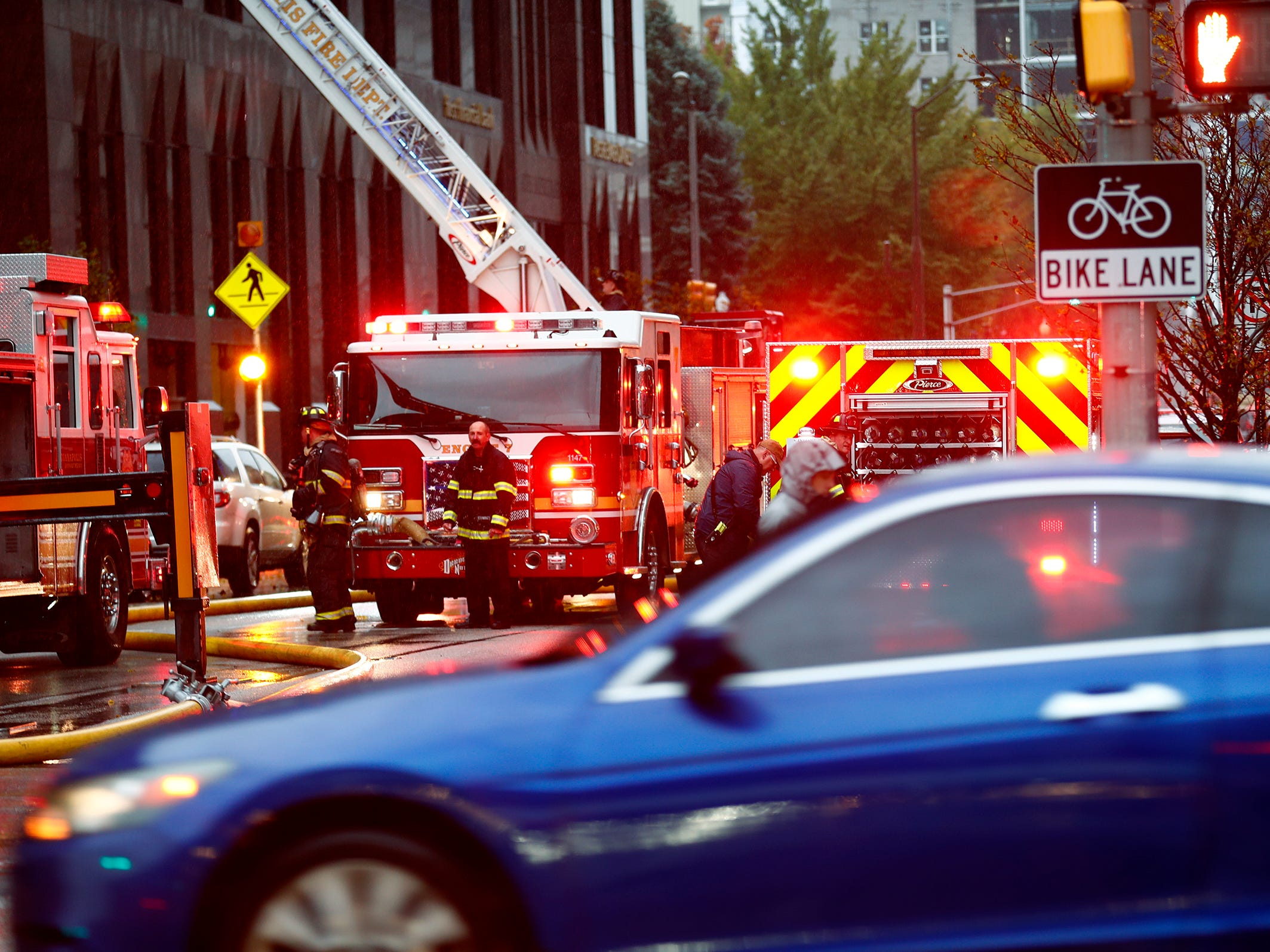 Traffic is re-routed as IFD fights a car fire in a parking garage at Illinois and New York, Thursday, Nov. 1, 2018.