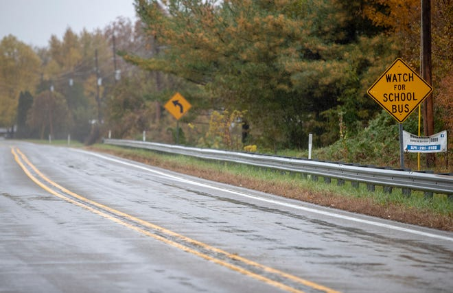 State Highway 25, near Rochester, on the stretch of road looking southbound where three children died earlier in the week, and a fourth was injured, Thursday, Nov. 1, 2018. Prosecutors said Alyssa Shepherd, 24, struck and killed 6-year-old twins Xzavier and Mason Ingle, 6, and their sister Alivia Stahl, 9, as they were crossing the highway to board their school bus in Fulton County.