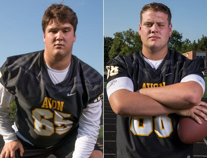 Avon offensive linemen Addison Batton (left) and D.J. Bowles (right) will look to clear space for the Orioles against Brownsburg on Friday.