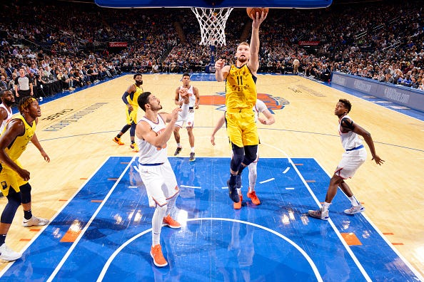 Domantas Sabonis #11 of the Indiana Pacers shoots the ball against the New York Knicks on October 31, 2018 at Madison Square Garden in New York City, New York.