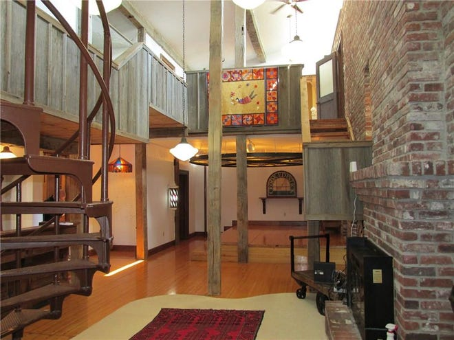 The spiral staircase leading to the second floor came from from the Indianapolis Riverside Amusement Park's midway.