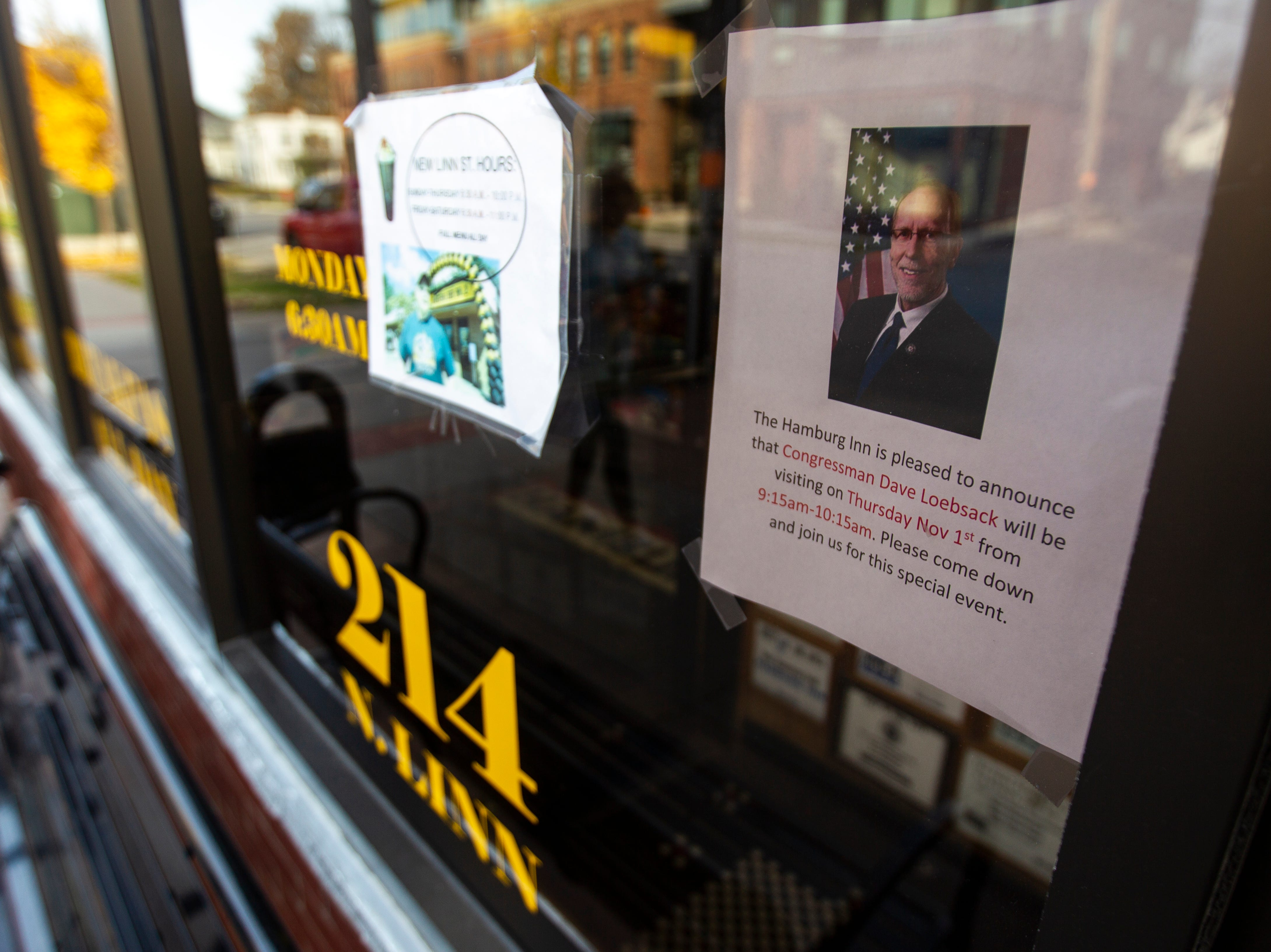A piece of paper is taped up ahead of a visit from U.S. Rep. Dave Loebsack, D-Iowa, on Thursday morning, Nov. 1, 2018, at Hamburg Inn No. 2 on Linn Street in Iowa City.