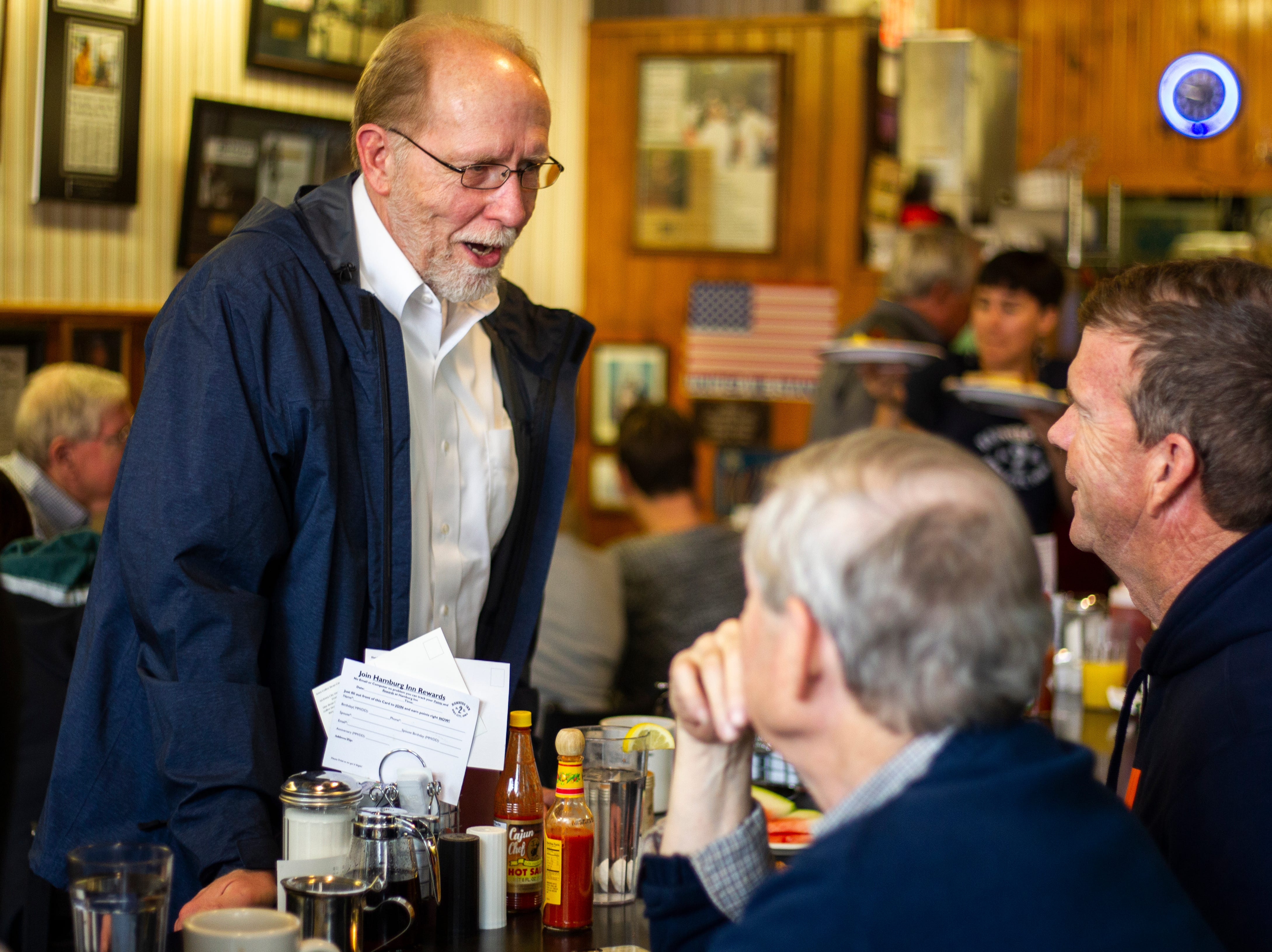 U.S. Rep. Dave Loebsack, D-Iowa, talks with constituents on Thursday morning, Nov. 1, 2018, at Hamburg Inn No. 2 on Linn Street in Iowa City.