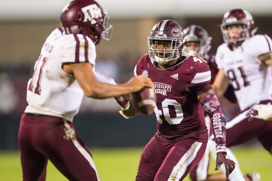 Mississippi State linebacker Erroll Thompson had seven tackles and a game-sealing interception in a 28-13 win over Texas A&M on Oct. 27.