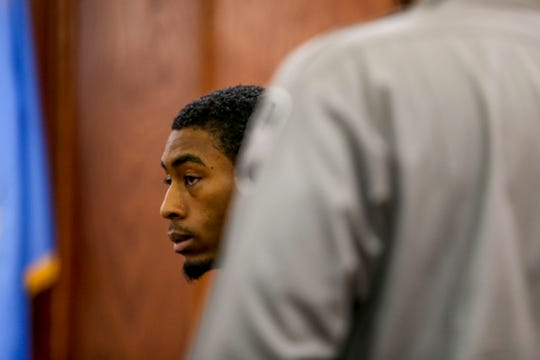 Keon Stewart looks across those in attendance in court at the hearing for Stewart at Jackson City Court in Jackson, Tenn., on Thursday, Nov. 1, 2018.