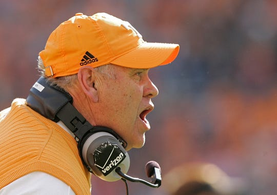 Tennessee coach Phillip Fulmer yells to his team during the first half of an NCAA college football game against Wyoming, Saturday, Nov. 8, 2008 in Knoxville, Tenn. Wyoming won 13-7.
