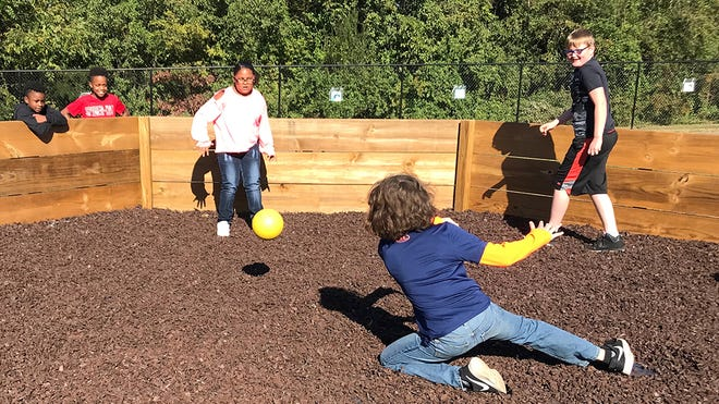 Students at Norwood Elementary compete in the school's new gaga ball pit on Oct. 24, 2018.