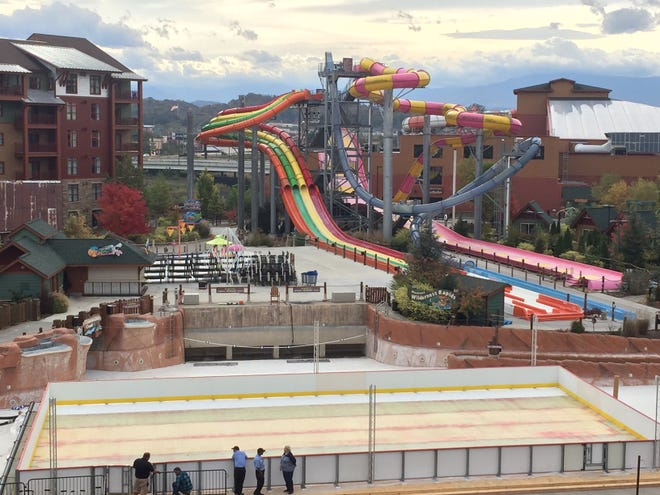 Wilderness at the Smokies is working on its new ice skating rink, which will open on Nov. 16 with a new Santa's Village holiday area.