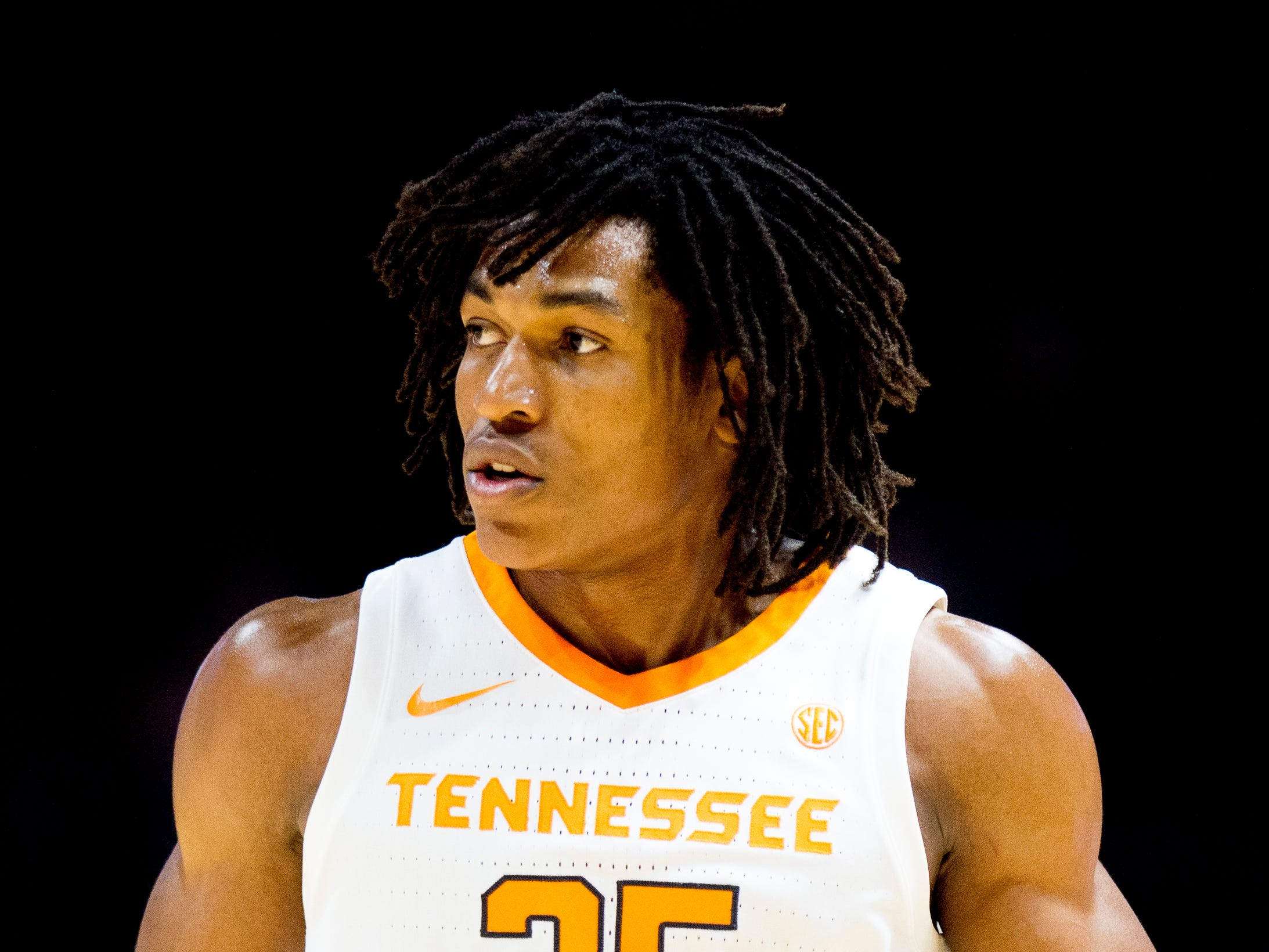 Tennessee guard/forward Yves Pons (35) runs down the court during a game between Tennessee and Tusculum at Thompson-Boling Arena in Knoxville, Tennessee on Wednesday, October 31, 2018.