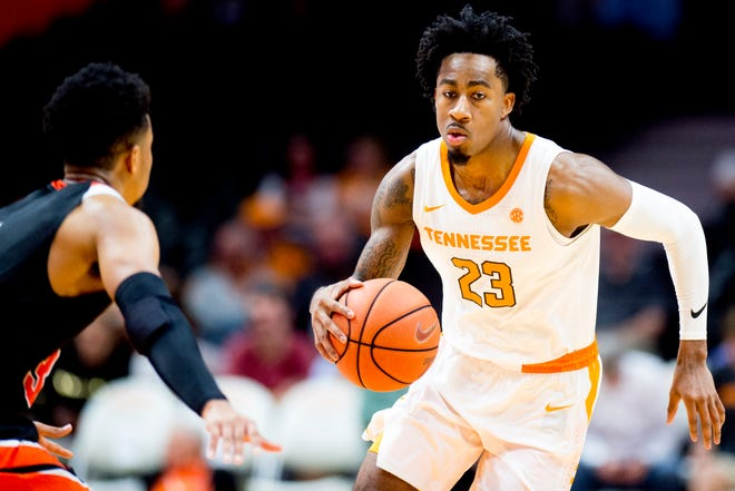 Tennessee guard Jordan Bowden (23) dribbles down the court against Tusculum in an exhibition Oct. 31.