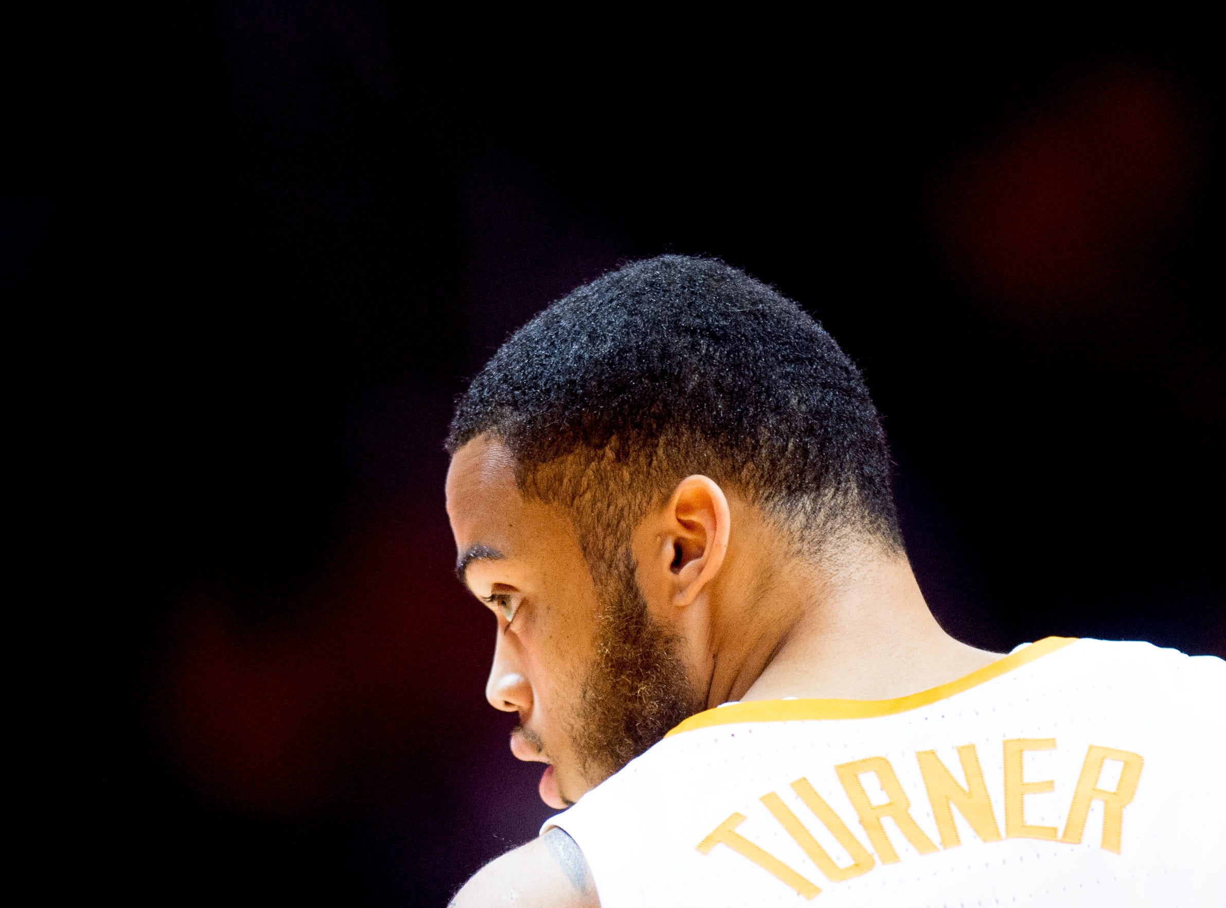 Tennessee guard Lamonte Turner (1) walks on the court during a game between Tennessee and Tusculum at Thompson-Boling Arena in Knoxville, Tennessee on Wednesday, October 31, 2018.