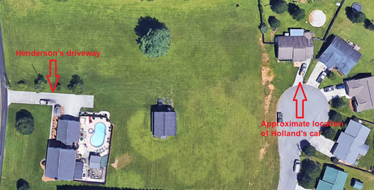 An overhead view from Google Earth showing where David Henderson's driveway lies in relation to where Olga Holland's car was parked the night of the accident.