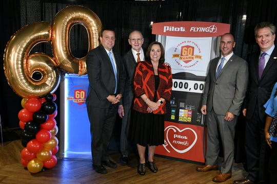 Pilot Flying J Founder Jim Haslam announced a $2 million philanthropic commitment to national and local nonprofit organizations Thursday, Nov. 1, 2018 in celebration of the company's 60th anniversary. Left to right are Bart McFadden, with Boys & Girls Clubs; Haslam; Elaine Streno, Second Harvest; Nathan Smith, Hire Heroes USA; and Andy Wilson, Feeding America.