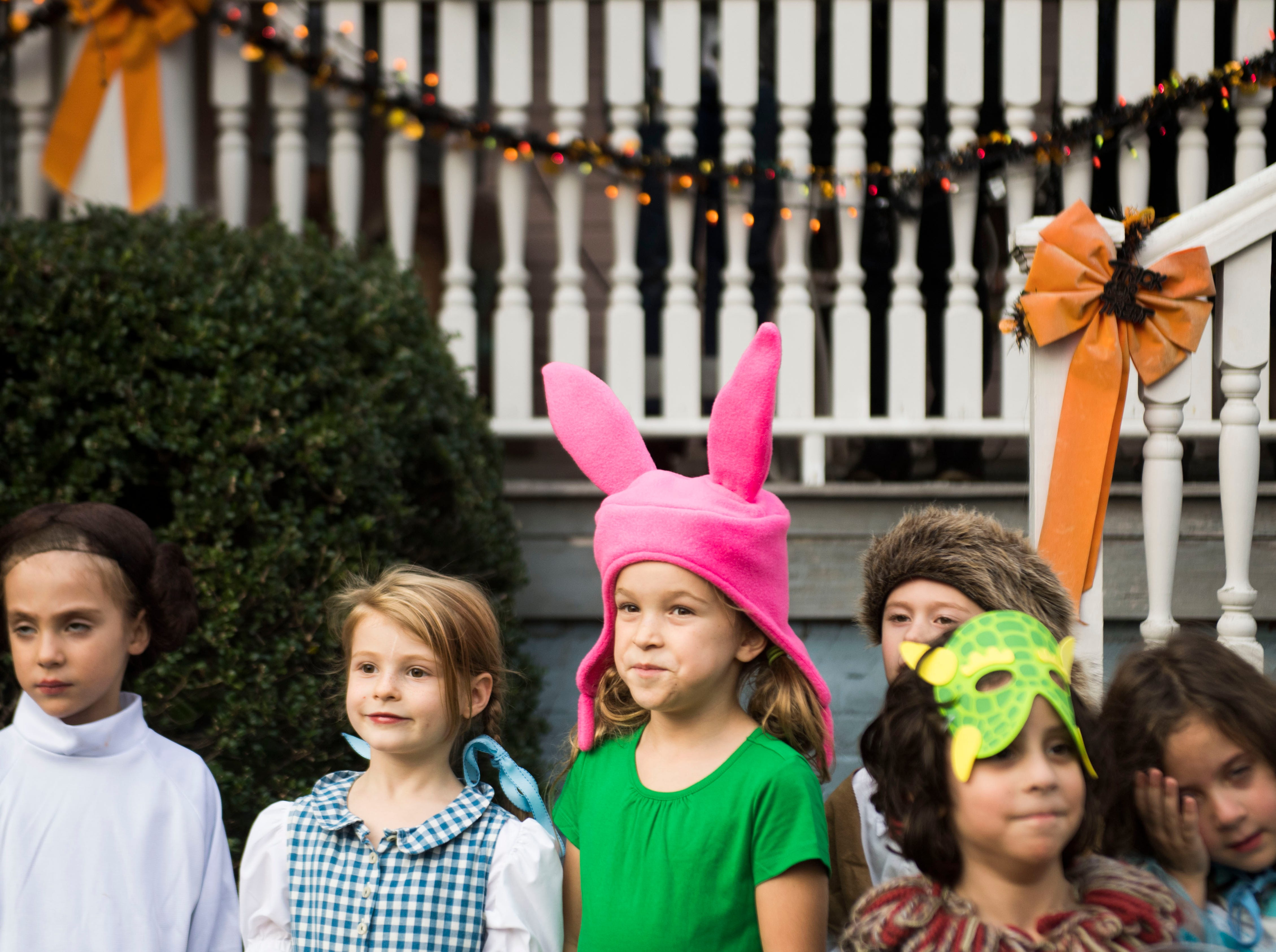 Halloween costume contest participants line up at  Fourth and Gill's neighborhood Halloween party in Knoxville, Wed. Oct. 31, 2018.