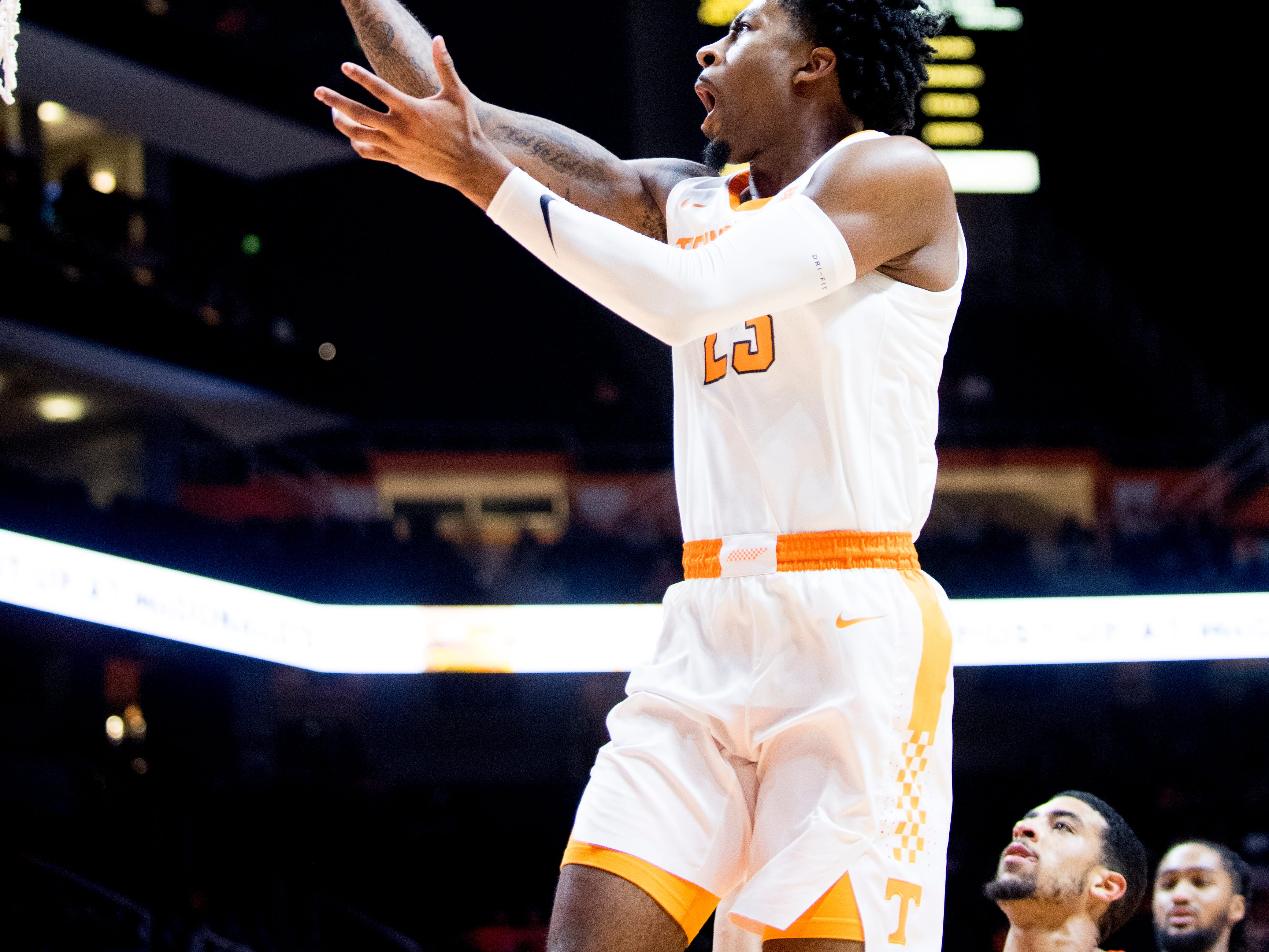 Tennessee guard Jordan Bowden (23) goes for a layup during a game between Tennessee and Tusculum at Thompson-Boling Arena in Knoxville, Tennessee on Wednesday, October 31, 2018.