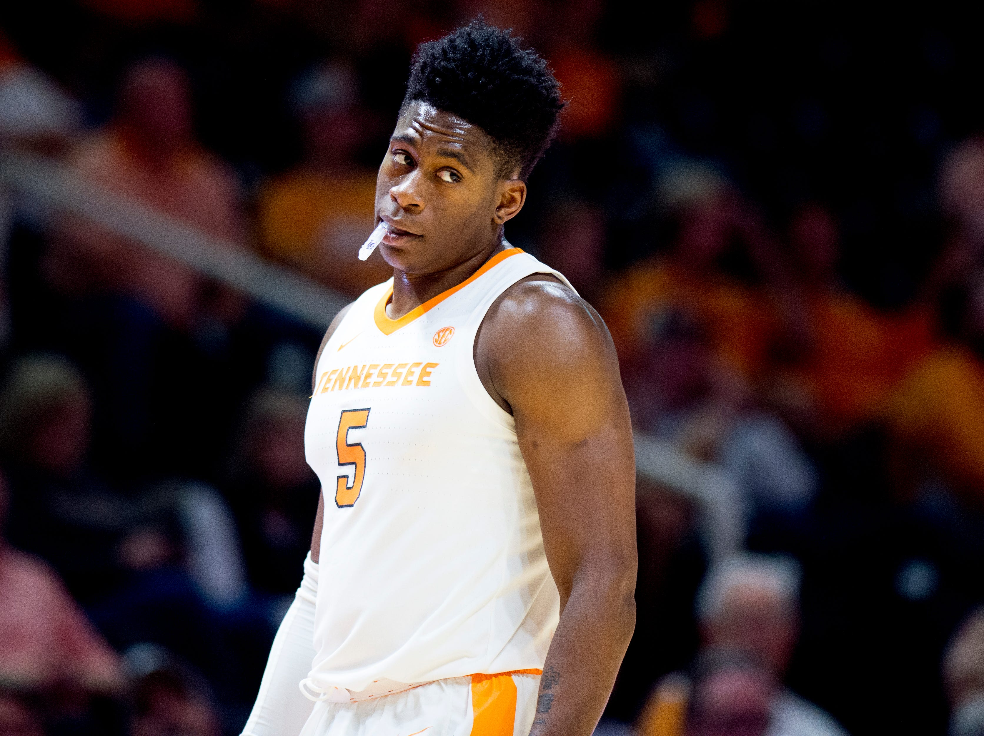Tennessee guard Admiral Schofield (5) walks on the court during a game between Tennessee and Tusculum at Thompson-Boling Arena in Knoxville, Tennessee on Wednesday, October 31, 2018.
