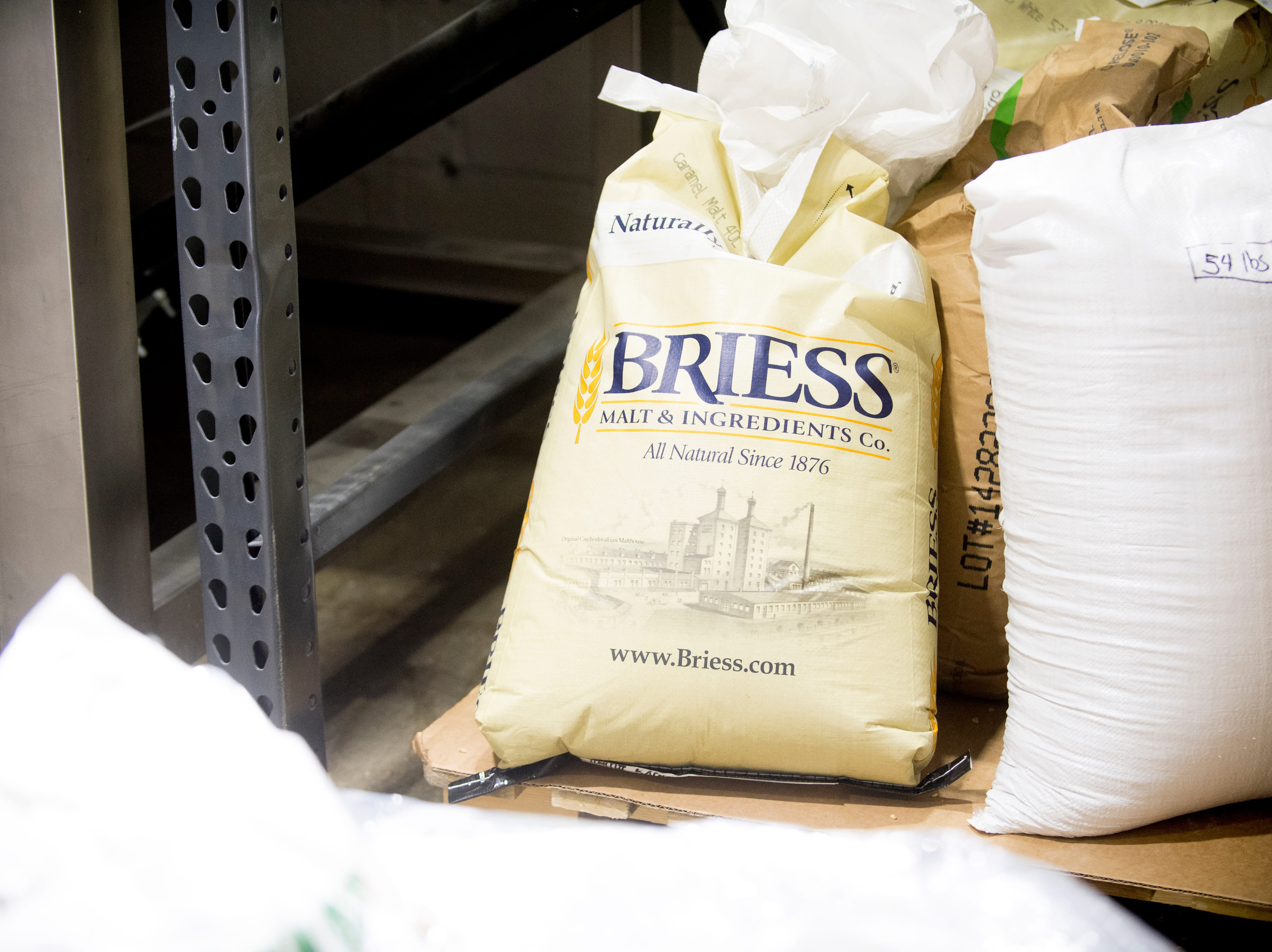 Malt and other brewing ingredients sit beside the grist case at Elst Brewing Company on 2417 N Central St. in Knoxville, Tennessee on Thursday, November 1, 2018. Elst plans to open its door beginning next year.