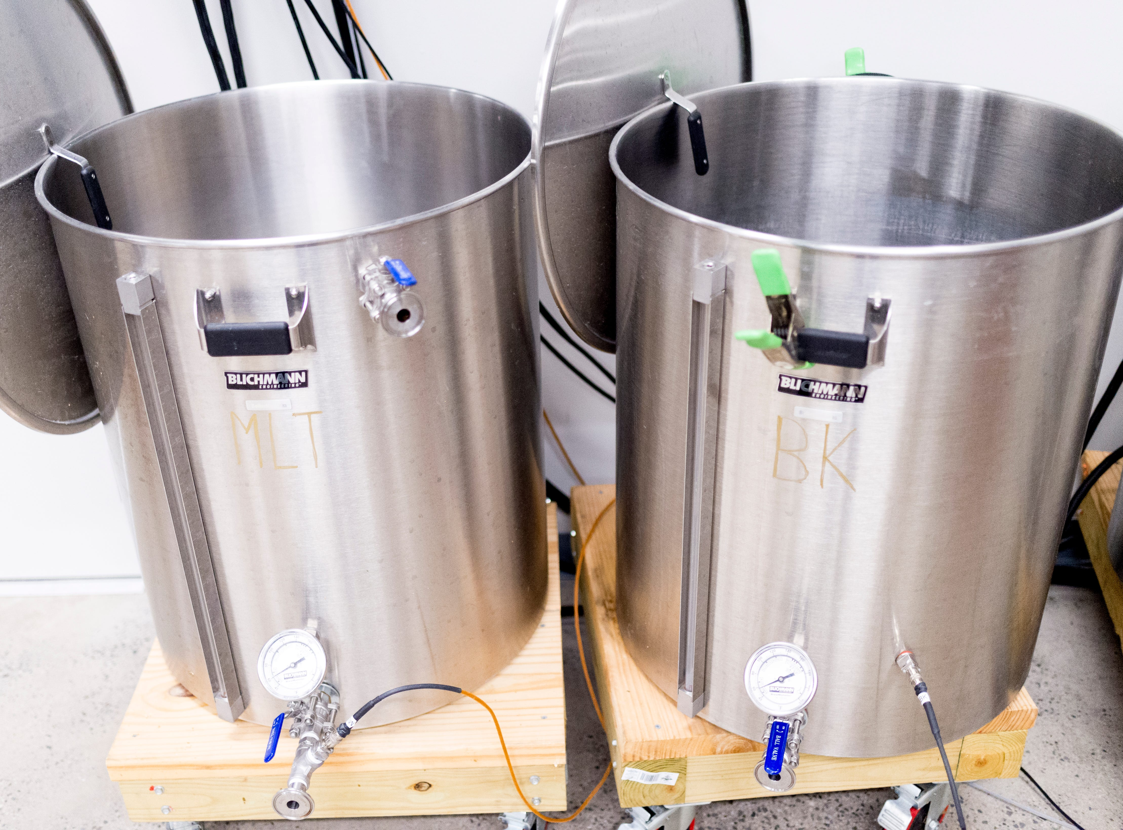 Pilot Brewing Tanks for test batches inside the brewery at Elst Brewing Company on 2417 N Central St. in Knoxville, Tennessee on Thursday, November 1, 2018. Elst plans to open its door beginning next year.