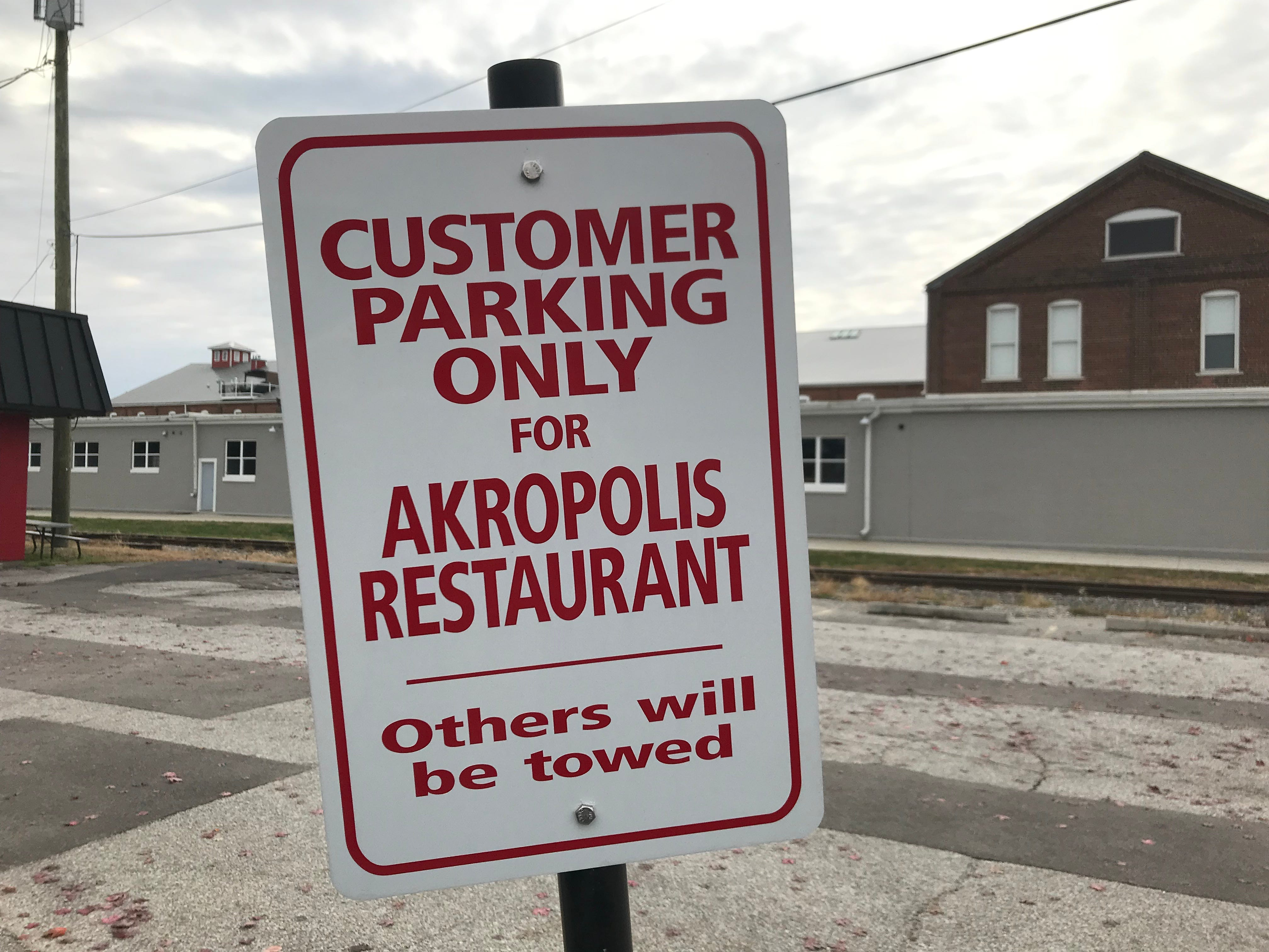 Reconstruction of South Street means that westbound customers cannot turn into the Akropolis' parking lot, which has limited spaces. Plan your route accordingly.