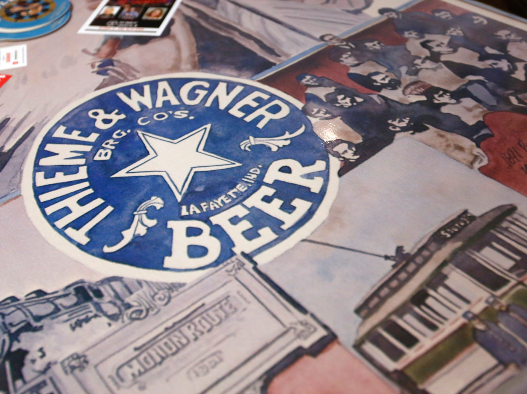 Beer memorabilia, including a wide variety from the original Thieme & Wagner Brewing Company, grace the walls and table tops of Thieme & Wagner Brewery Wednesday, October 10, 2018, at 652 Main Street in Lafayette.