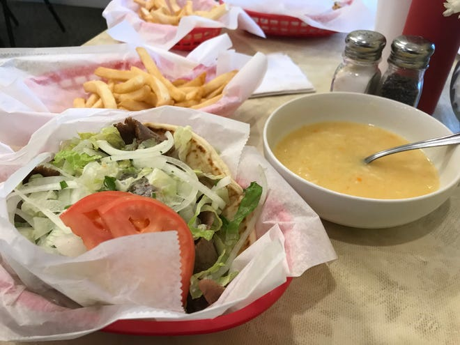 Halloween dinner consisted of a supreme gyro with fries and lemon soup from the Akropolis.