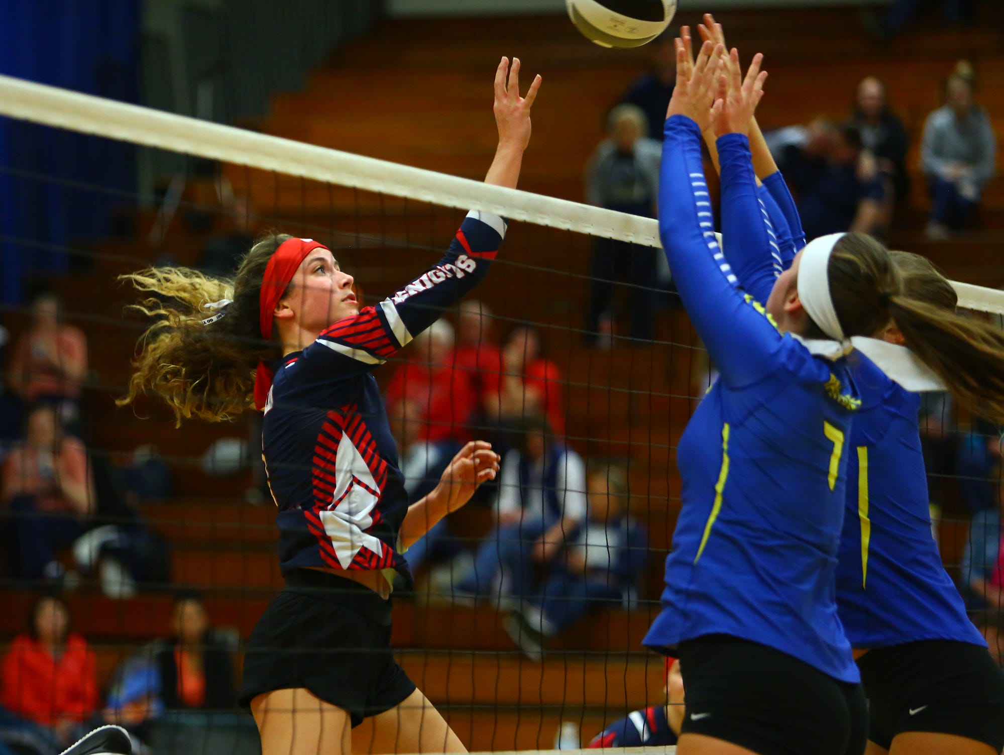 Fairfield Christian's Blaire Barr battles Portsmouth Clay Wednesday night, Oct. 31, 2018, at Lancaster High School. Fairfield Christian fell to Clay in the fifth game.