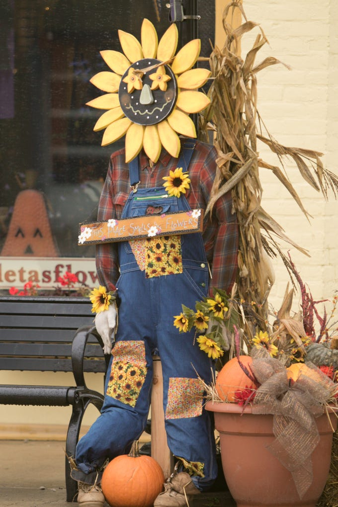 Aleta's Flower Shop & Gifts, shown Wednesday, Oct. 31, 2018, took first place in the Scarecrows Across the 'Ville contest.