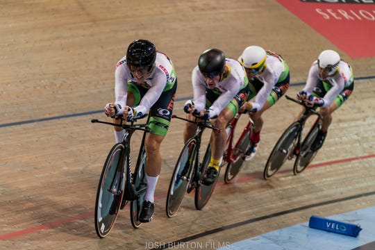 Curtis Tolson races in the World Championship in the Team Pursuit race.