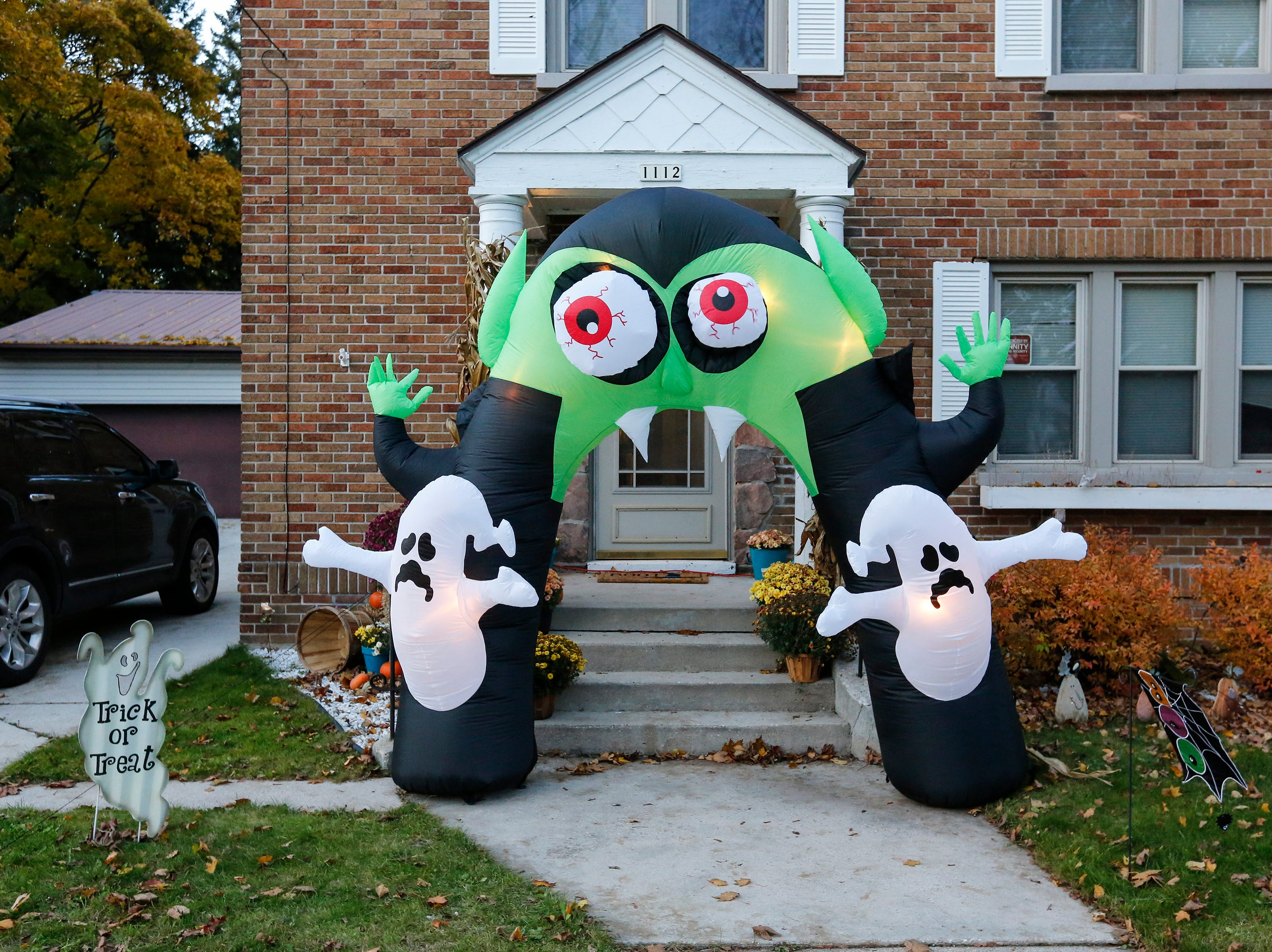 a festive door display during trick or treating on Halloween Wednesday, October 31, 2018, in Manitowoc, Wis. Joshua Clark/USA TODAY NETWORK-Wisconsin