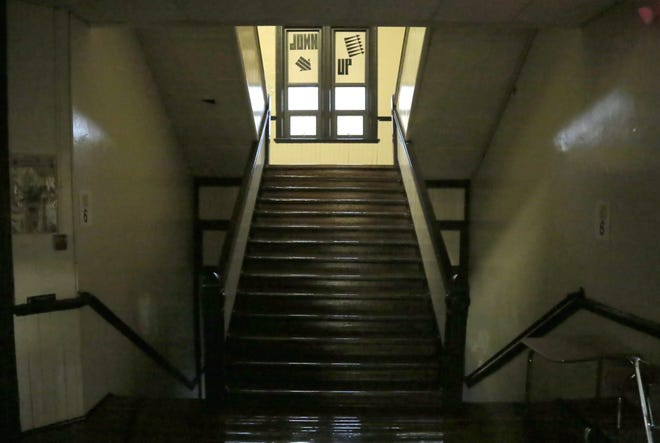 The stairwell for Lexington Middle school in the 19th-century build portion of the building.