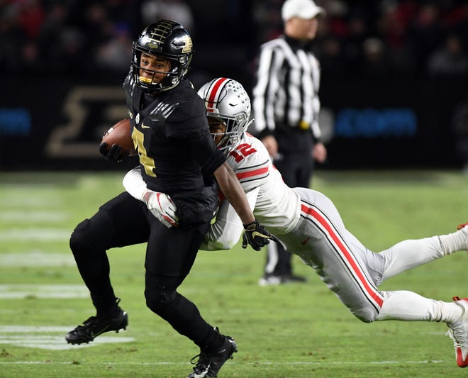 Ohio State will need to do a better job of tackling against Nebraska than it did corralling Purdue dynamo Rondale Moore in the Boilermakers 49-20 victory two weeks ago. Moore is shown evading a tackle by safety Isaiah Pryor.