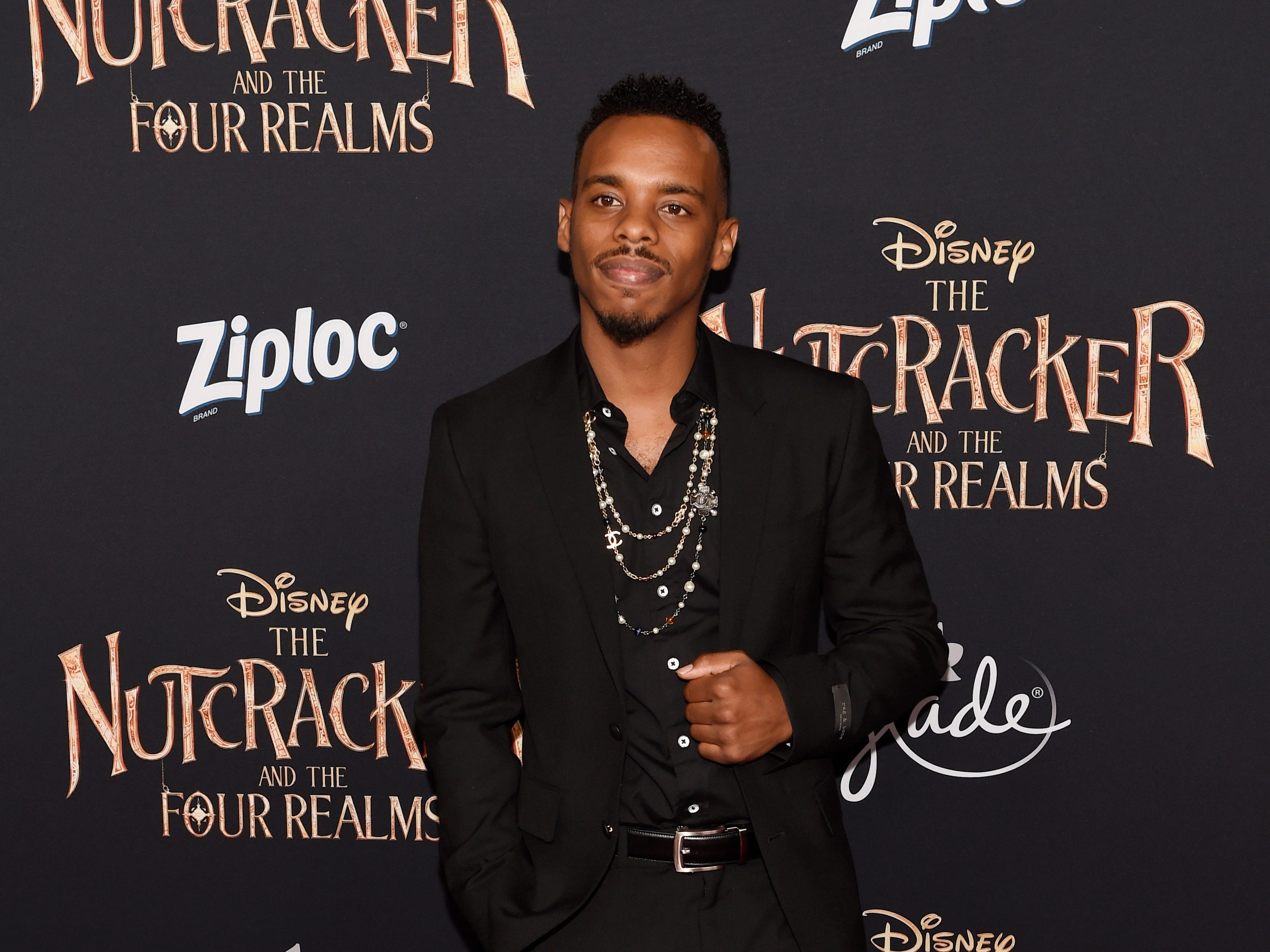 """Lil Buck, a cast member in """"The Nutcracker and the Four Realms,"""" poses at the premiere of the film at the Dolby Theatre on Oct. 29 in Los Angeles."""