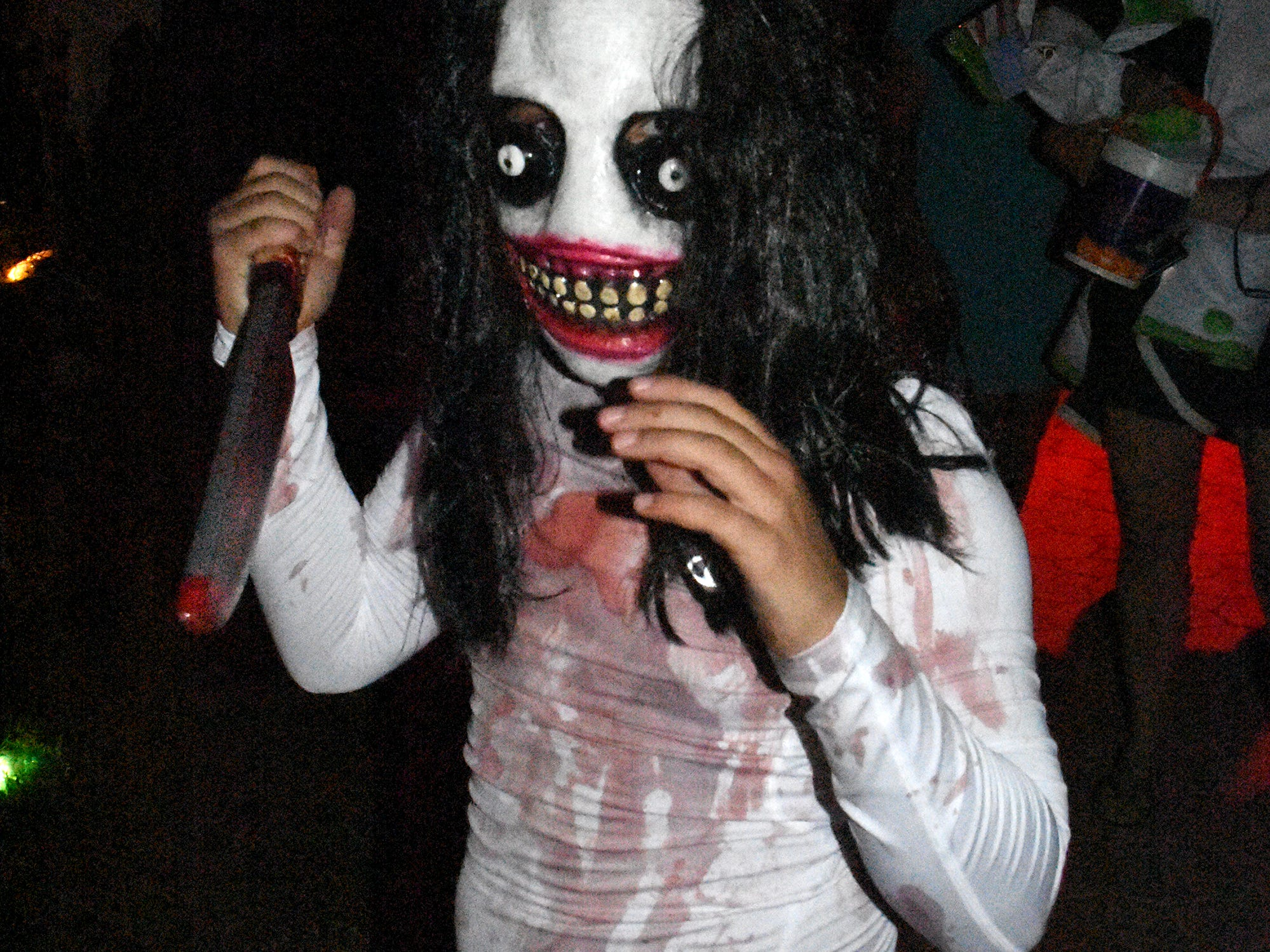 Luca Rama, 10, petrifies as Jeff the Killer. Wednesday evening, in a decades-old tradition, the streets around Tommie Barfield Elementary turned into a trick or treatin' block party.