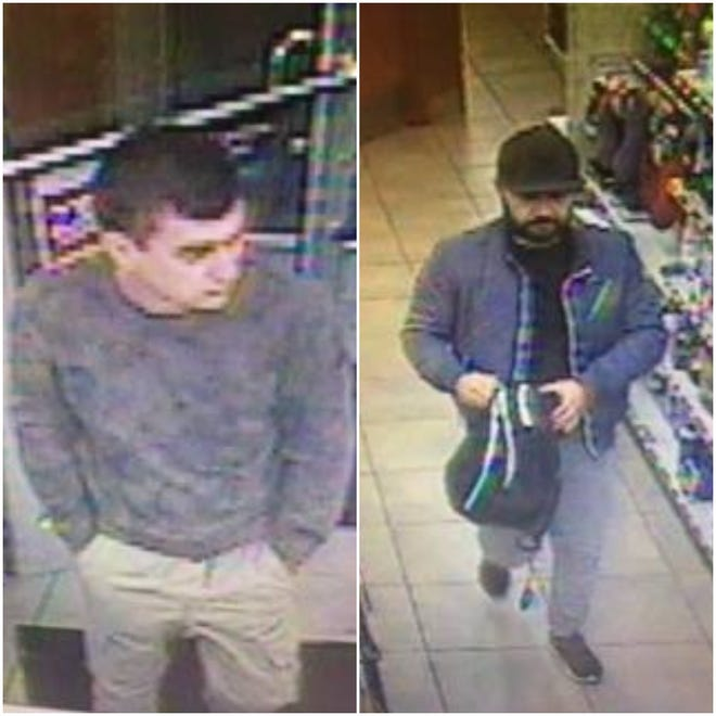 These two men are suspects in planting a credit card skimmer on a gas station ATM machine at Pilot Travel Center, 2031 W. Ryan Road, Oak Creek.